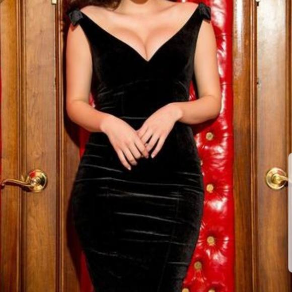 PinupGirl Clothing Dresses & Skirts - Pinup Girl velvet cocktail dress